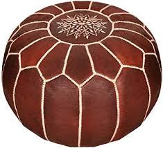 Amazon.com: Moroccan Leather <b>Pouf</b> - Luxury <b>Dark Brown Pouf</b>
