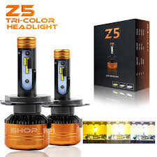 NEW Z5 3 Tri-Color LED Headlight <b>3000K 4300K 6000K</b> H4 ₱1999