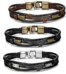 <b>3PCS</b> Leather Bracelet for Men <b>Vintage Braided</b> Wrist Cuff Bangle ...