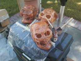 how to halloween yard haunting decorations and home made props make a decaying or mummy skull