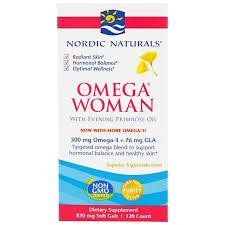 Nordic, <b>Omega Woman</b> w/<b>Evening</b> Primrose Oil, 830mg,120 sgels ...