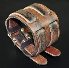 Men's Double-Band-Through <b>Wide Vintage Genuine Leather</b> ...