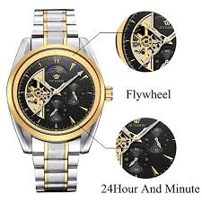 2017 new high quality watch mens luxury brand skeleton automatic mechanical leather strap 18k gold