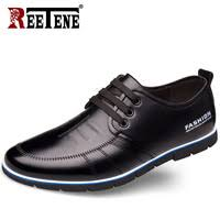 REETENE Cow Leather <b>Men Casual Shoes</b> Slip-On Comfortable...