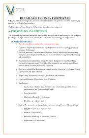 comprehensive details of each test