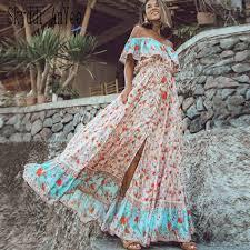 <b>2019 Women Summer Boho</b> Maxi Dress Rainbow Gradient Color ...