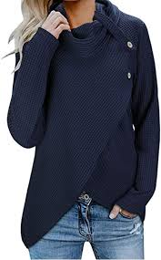 KILIG Womens Long Sleeve <b>Button Cowl Neck Casual</b> Knitted Color ...