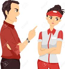 illustration of a female teenage part time worker being scolded illustration illustration of a female teenage part time worker being scolded by her supervisor