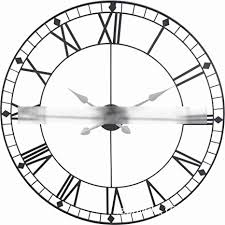 AUSWIEI 80cm <b>Metal</b> Round <b>Big Wall</b> Clock, <b>Creative</b> Wrought Iron ...