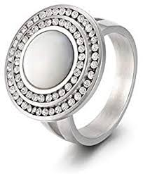 NA <b>Creative Titanium</b> Steel <b>Simple</b> Shell Women's Ring: Amazon.co ...