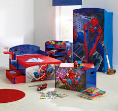 cheap kids bedroom ideas:  boys room spiderman theme bed and cupboard