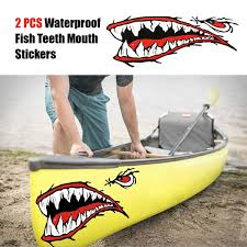 <b>2pcs Waterproof</b> Fish Teeth Mouth <b>Stickers Kayak Sticker Kayak</b> ...