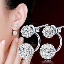 Caroj Women Jewelry Silver <b>Double</b> Beaded <b>Rhinestone Crystal</b> ...