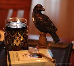 quoth the raven tablescape got my reservations quoth the raven centerpiece detail