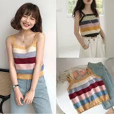[Lisa]Causal Knitted <b>Striped Summer</b> Beach <b>Sexy Vest</b> | Shopee ...