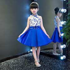 2018 <b>Girl</b> Blue White Mini <b>Cheongsam</b> Sleeveless Children ...