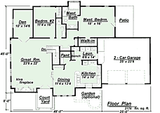 Adobe House Plan Specifications for Southwest Style House PlanSouthwest adobe ranch floorplan image