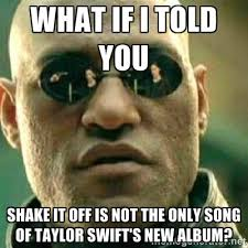 What if I told you Shake it off is not the only song of Taylor ... via Relatably.com