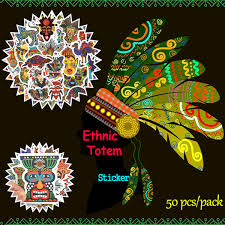 <b>50 PCS</b> Waterproof Ethnic <b>Totem</b> Stickers Doodle <b>Animal</b> Decals ...