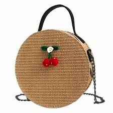 Women Straw Shoulder Bag Circle <b>Handwoven</b> Bali Round Retro ...