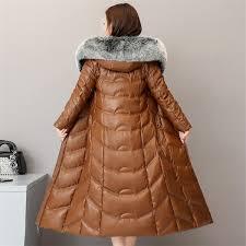 High quality Winter <b>Women Sheep Leather</b> Down Jacket 2019 <b>Big</b> ...