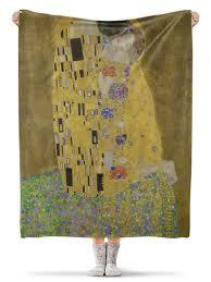 <b>Плед флисовый 130</b>×<b>170</b> см Поцелуй (картина Климта) #1918984