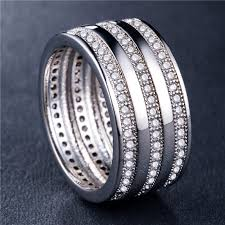 <b>Huitan</b> Brilliantt <b>Silver Plated</b> Ring Triple Line Cubic Zircon Setting ...
