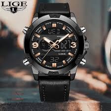 <b>2019 LIGE New</b> Men's Fashion Sport Watch Men <b>Black</b> Leather ...