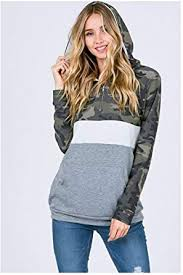 BellanBlue <b>Camo Color Block Hoodie</b> Sweater at Amazon Women's ...