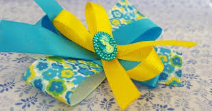 Pair of Blue and Yellow <b>Hair Bows</b>, Unique <b>Hair Bows</b>, Clips ...