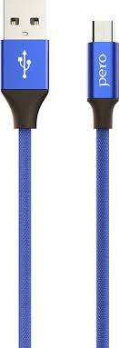 Кабель <b>Pero DC</b>-<b>02</b> micro-USB, 2 А, 1 м, синий — купить в ...