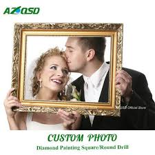 <b>AZQSD Diamond Painting</b> Cross Stitch Photo Custom Full Round ...