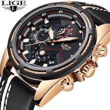 LIGE <b>Watch Men Fashion Sport</b> Quartz Clock Leather Mens Watches ...