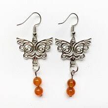<b>Серьги</b>-подвески в форме бабочки, 6 мм, камень <b>сердолик</b>, бисер ...