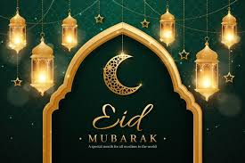 Realistic <b>eid mubarak</b> background with candles and moon Free Vector