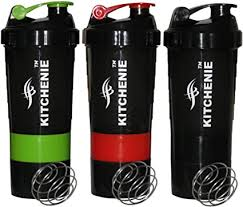 KITCHENIE Protein <b>Shaker Bottle BPA Free</b>-3 Pack-Easy Grip-<b>Leak</b> ...