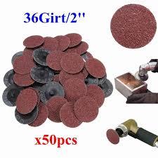 50Pcs 36 Grit Sandpaper Sanding Discs 2'' Roll Lock <b>Type</b> R Roloc ...