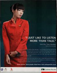 selling feminine passivity in a cathay airlines ad sociological which appeared in the u k presents karina yau a flight attendant to customers as the perfect caretaking w one who just wants to listen to you