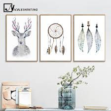<b>Nordic</b> Decoration Watercolor Feather Deer <b>Minimalist Posters and</b> ...