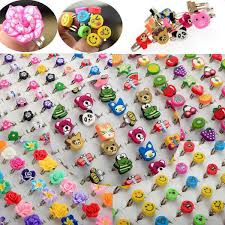10Pcs/lot Adjustable Colorful <b>Cartoon Animal Flower</b> Mixed Polymer ...