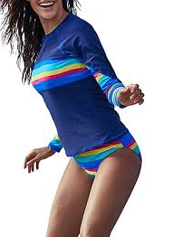 Elapsy <b>Womens Rainbow Striped</b> Long Sleeve Rash Guards Shirt ...