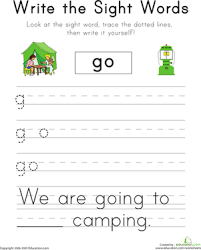 "Write the Sight Words: ""Go"" 