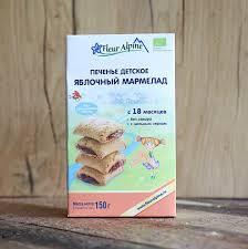 fleur alpine organic яблочный мармелад печенье детское с 18 месяцев 150 г
