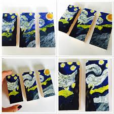 mini starry night triptych mini starry night triptych painting