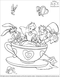 Small Picture Alice in Wonderland and the tea cup ride fun coloring page