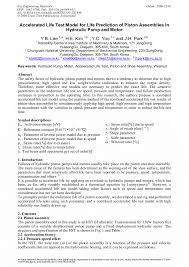 Accelerated Life Test Model for Life Prediction of <b>Piston</b> Assemblies ...