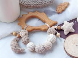 Teething toy, wooden teething toy, teether with <b>moon</b> and star ...