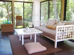 white daybed porch contemporary with sunroom animal hide rugs home office