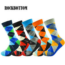 <b>5 pairs</b>/<b>lot</b> multi color Men's Rhombus socks British Style Plaid ...