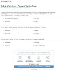 quiz worksheet types of writing styles com types examples worksheet